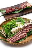 wild mallard duck  raw meat, japanese food