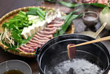 wild mallard duck hot pot, japanese cuisine
