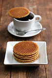 dutch stroopwafel and coffee