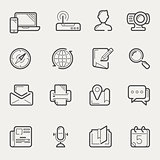 Internet communication and social media line icon set