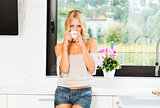 tea time for a blond stunning woman