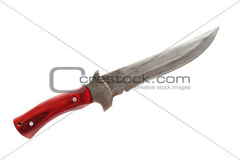 Old knife with a red handle, isolated