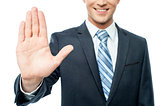 Businessman hands showing stop sign