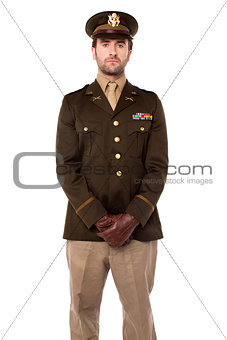 Army man posing isolated on white