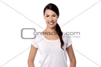 Smiling beautiful woman posing in casuals