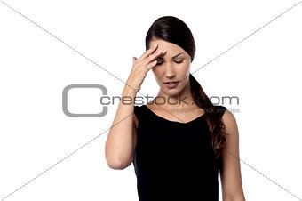 Beautiful young woman showing stress