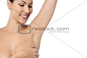 Topless woman isolated on white