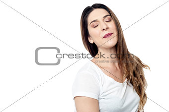 Beautiful young woman smelling