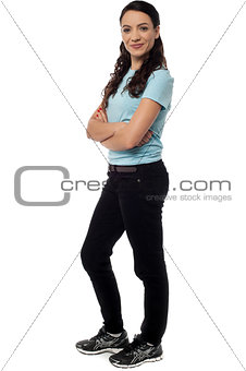 Attractive young woman with crossed arms