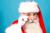 Happy santa claus with eyeglasses