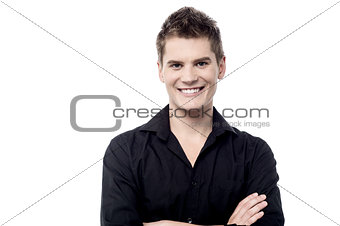 Casual man posing over white