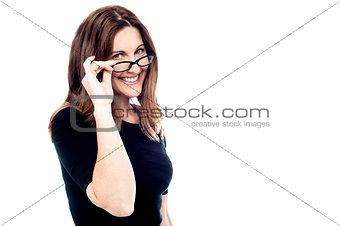 Corporate woman wearing eyeglasses