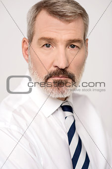Aged businessman posing to camera