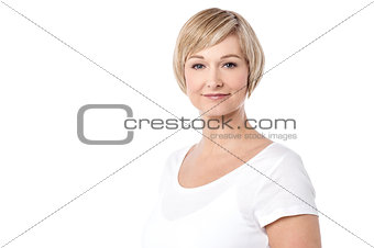 Beautiful mid woman posing over white