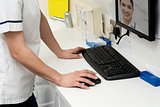 Female patient contact dentist via online