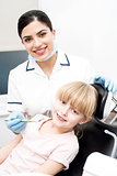 Little girl at annual dental checkup