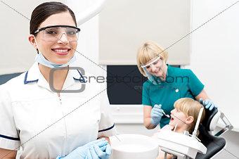 Little girl treated at dental clinic