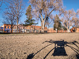 quadcopter drone shadow and city