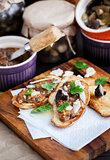 Mushroom and parmesan bruschetta