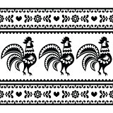 Seamless Polish monochrome folk art pattern with roosters - Wzory lowickie