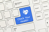 White conceptual keyboard - Check Your Health (blue key with hea