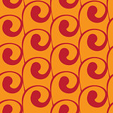 Vector seamless orange background with red swirls