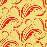 Vector seamless yellow background with red floral pattern