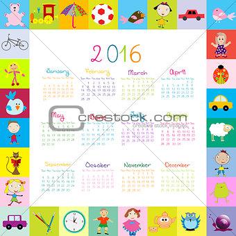 Frame with cartoon toys 2016 calendar