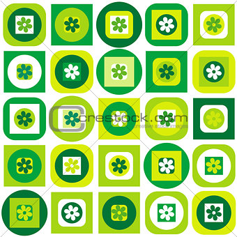 Green pattern of geometric shapes and flowers
