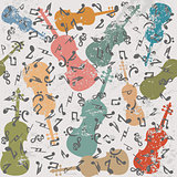 Grunge vintage background with violins and musical notes