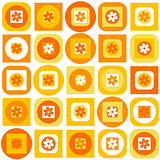 Orange pattern of geometric shapes and flowers