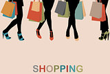 Vintage women silhouettes legs with high heels and shopping bags