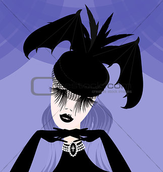 abstract lady with gothic hat