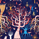 pattern beautiful magical trees
