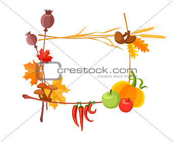 Autumn harvest frame for thanksgiving day