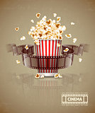 Jumping popcorn and movie film tape