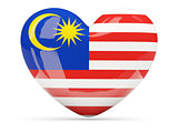 Heart shaped icon with flag of malaysia