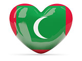 Heart shaped icon with flag of maldives