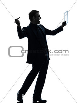 business man  digital pen stylus tablet   silhouette