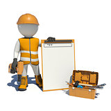 White man in special clothes, shoes and helmet holding clipboard, with hand drill. Background of toolbox