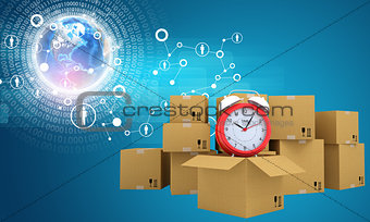 Postal boxes on them alarm clock. Backdrop of earth combines information