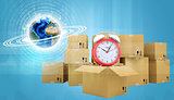 Postal boxes on them alarm clock. Backdrop of earth
