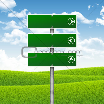 Blank green road signs. Hills, clouds in background