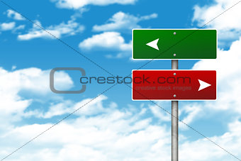 Blank road signs. Clouds in background