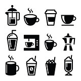 Coffee drinks, coffee makers icons set
