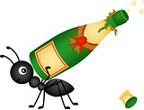 Ant carrying a champagne bottle