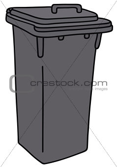 Gray plastic dustbin