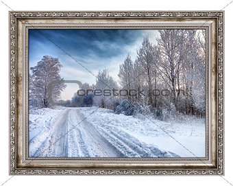 Old wooden frame with beautiful winter landscape