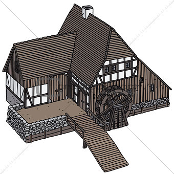 Old wooden watermill