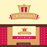 Vector logo, business card, identification of the bakery with logo. Croissant, the premium segment.